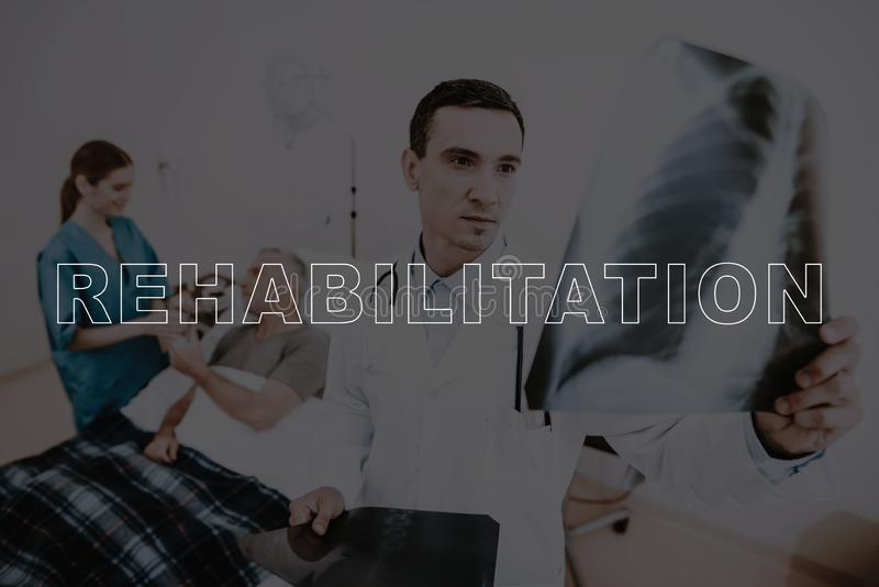 Collage Rehabilitation Doctor in Patient Room royalty free stock photography