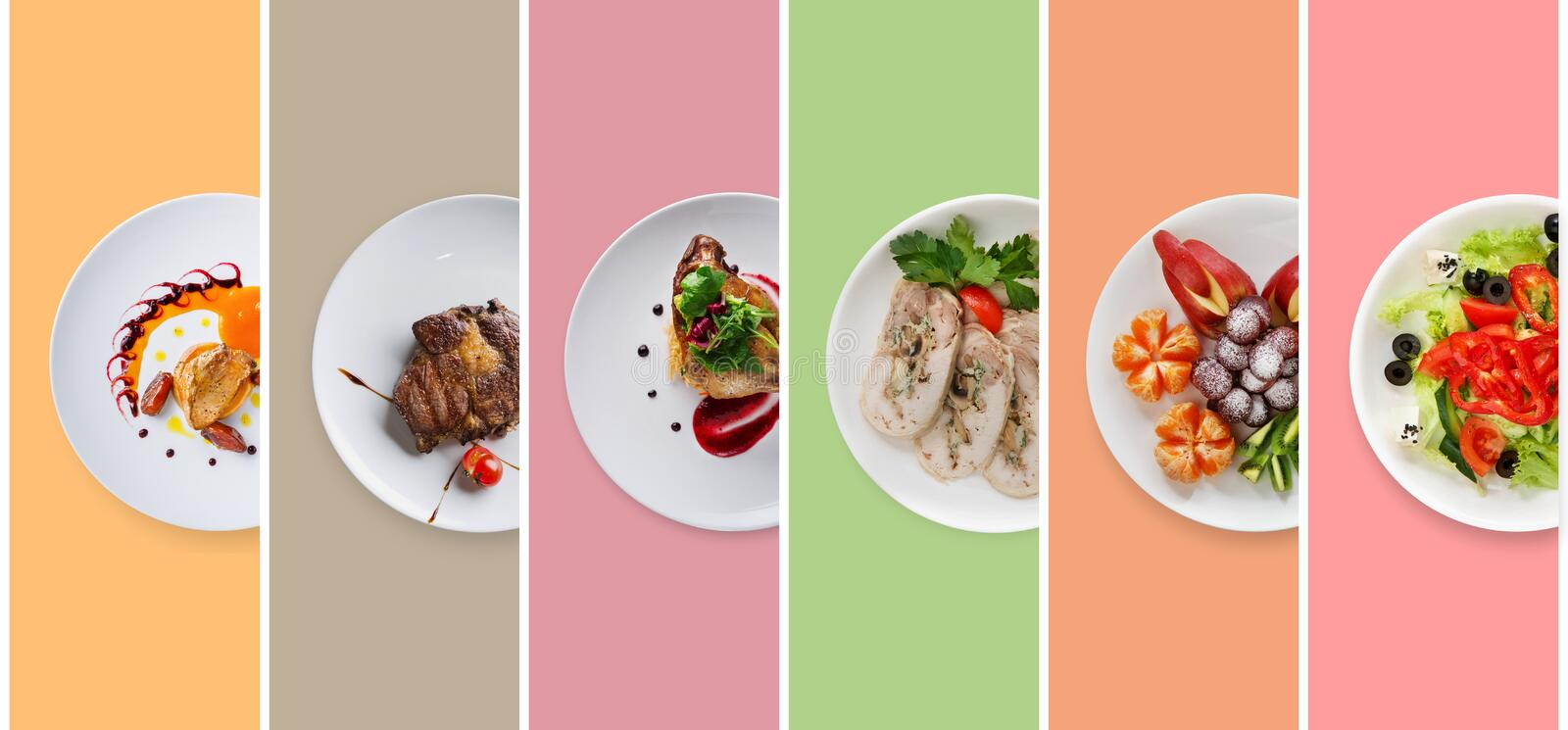 Collage of restaurant dishes on colorful background stock images