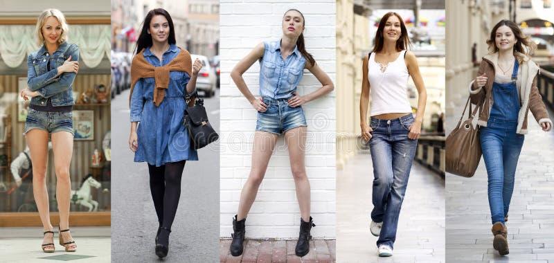 collage Retrato en crecimiento completo las muchachas hermosas jovenes en el bl fotos de archivo libres de regalías