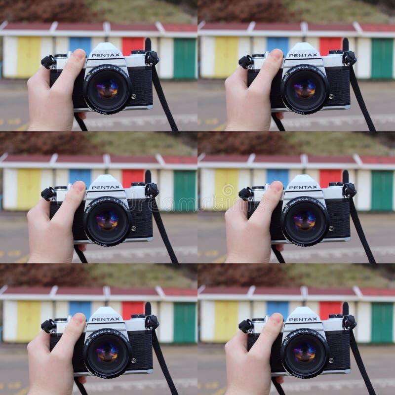 Collage retro de la cámara imagenes de archivo