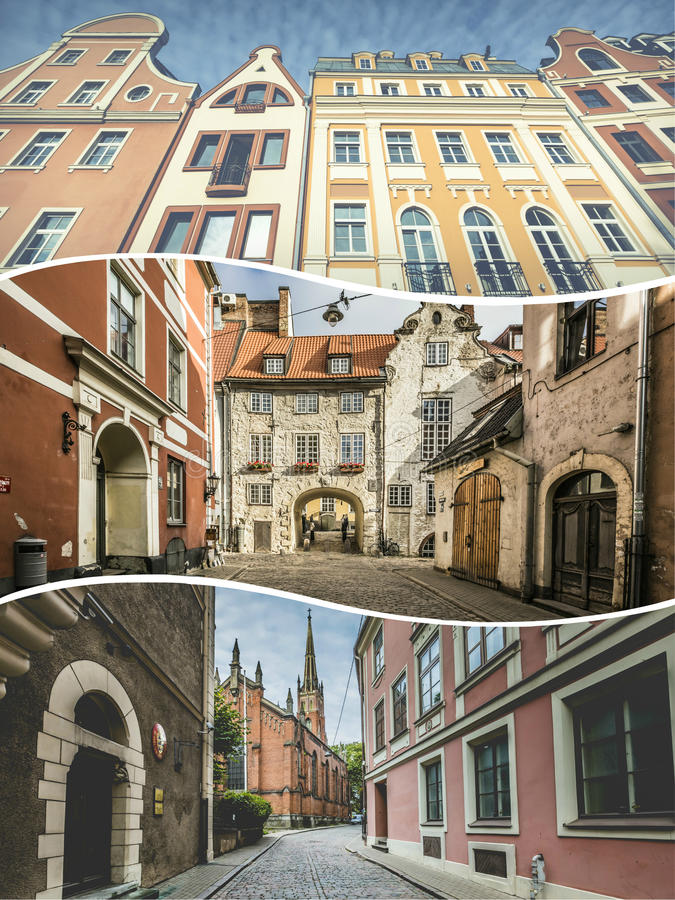 Collage of Riga (Latvia) images - travel background (my photos) royalty free stock photography