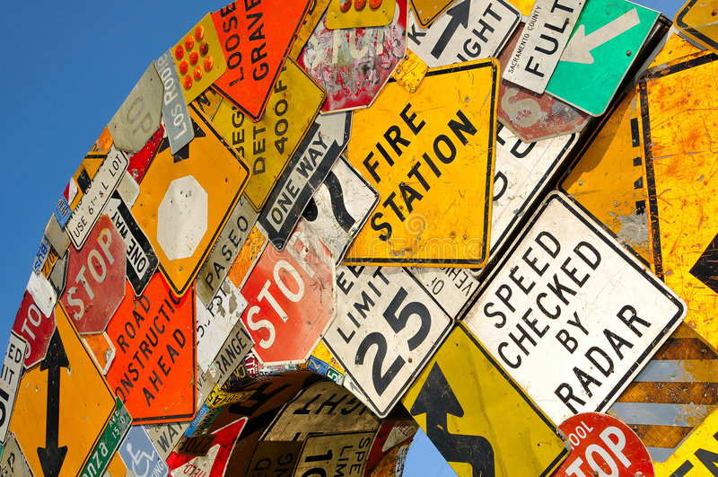 Download Collage of Road Signs stock photo. Image of signs, signage - 5402298