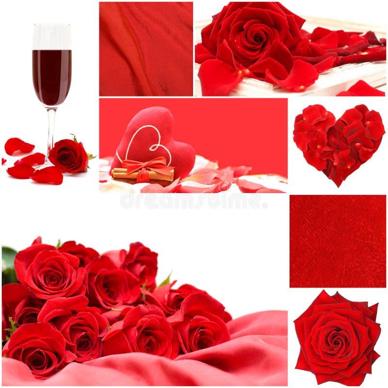 Collage rojo del amor con las rosas, el vidrio de la vid y el corazón fotos de archivo libres de regalías