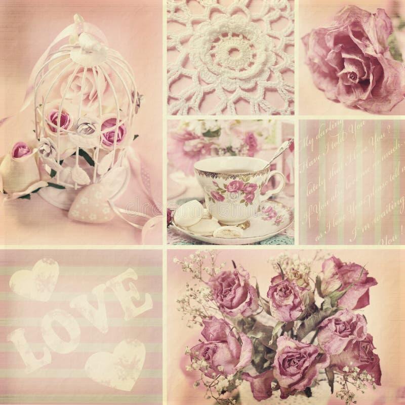 Collage romántico en estilo del vintage fotografía de archivo
