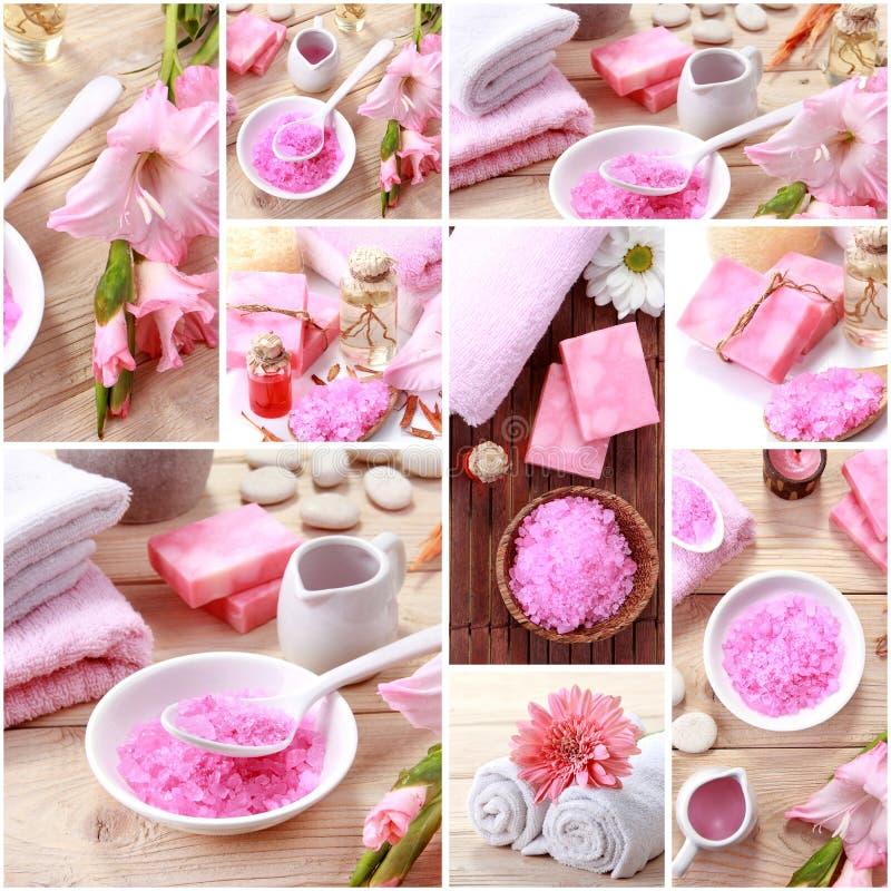 collage rosa di concetto della stazione termale oggetti della stazione termale di essensials e del sapone immagine stock