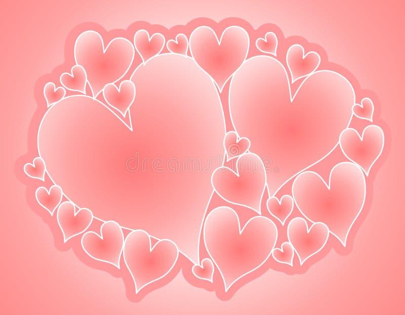 Collage rosado suave de los corazones de la tarjeta del día de San Valentín stock de ilustración
