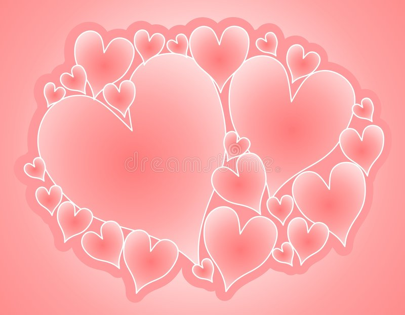 Collage rose mou de coeurs de Valentine illustration stock