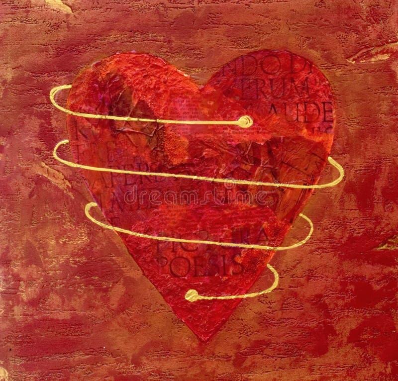Collage rosso verniciato del cuore illustrazione di stock