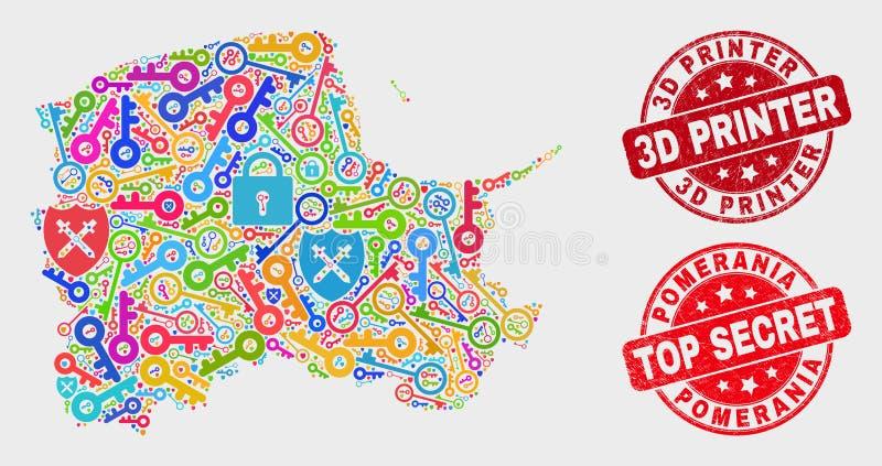 Collage of Safety Pomeranian Voivodeship Map and Grunge 3D Printer Watermark. Passkey Pomeranian Voivodeship map and stamps. Red round Top Secret and 3D Printer stock illustration