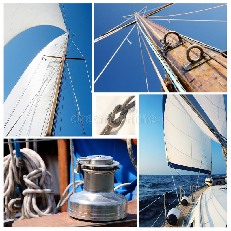 Collage of sailing boat stuff - winch, ropes, yacht in the sea stock photography