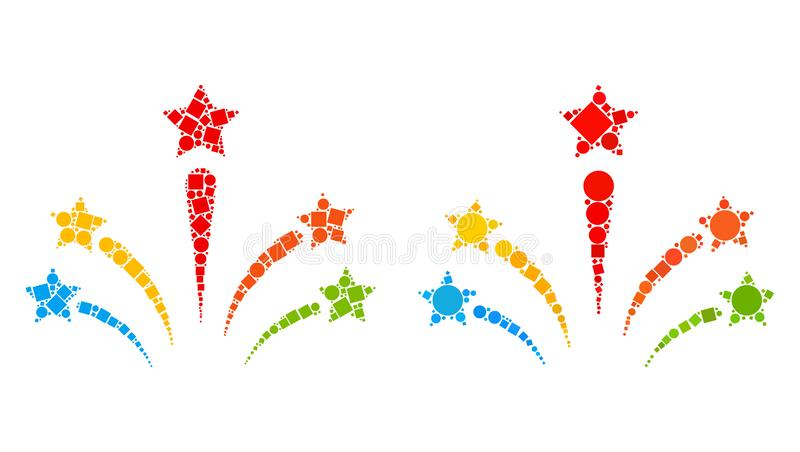 Salute Star Fireworks Icon Mosaics of Squares and Circles royalty free illustration