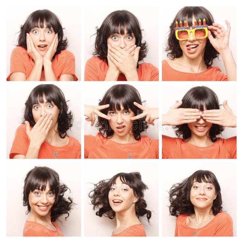 Collage of the same woman making diferent expressions stock photos