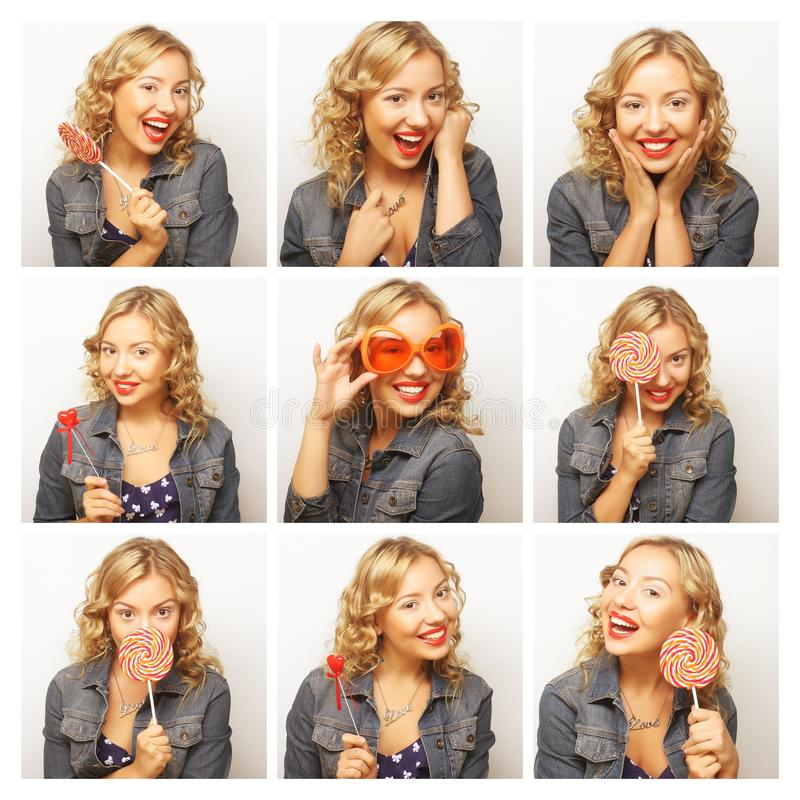 Collage of the same woman making diferent expressions. stock photography