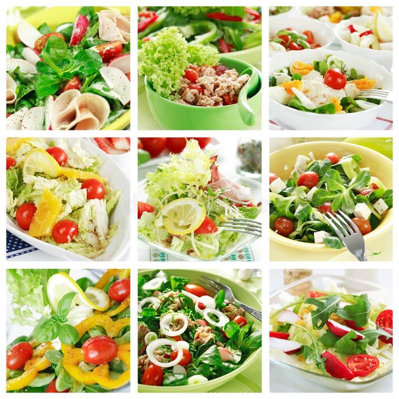 Collage sano de las ensaladas imagenes de archivo