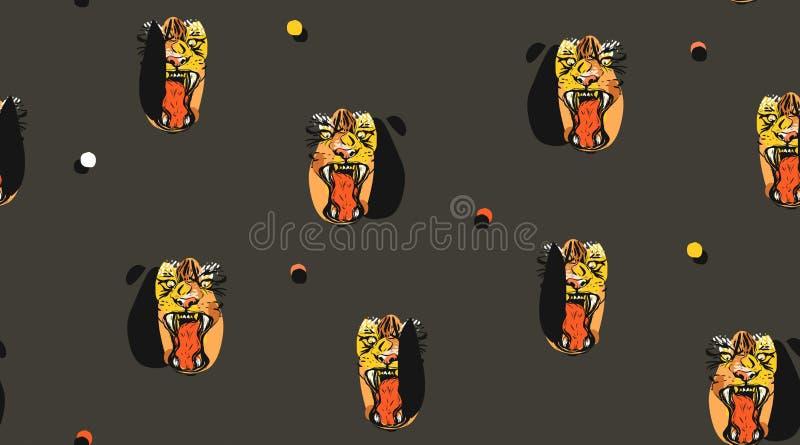 Collage sans couture de modèle vecteur d'abrégé sur d'encre de dessin d'illustrations tirées par la main de croquis avec la faune illustration stock