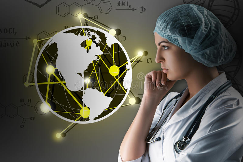 Collage on scientific topics. Young female doctor standing against gray background royalty free stock photo