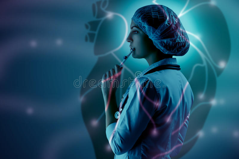 Collage on scientific topics. Young female doctor standing against heart background. Collage on scientific topics. Young female doctor standing on heart royalty free stock photos