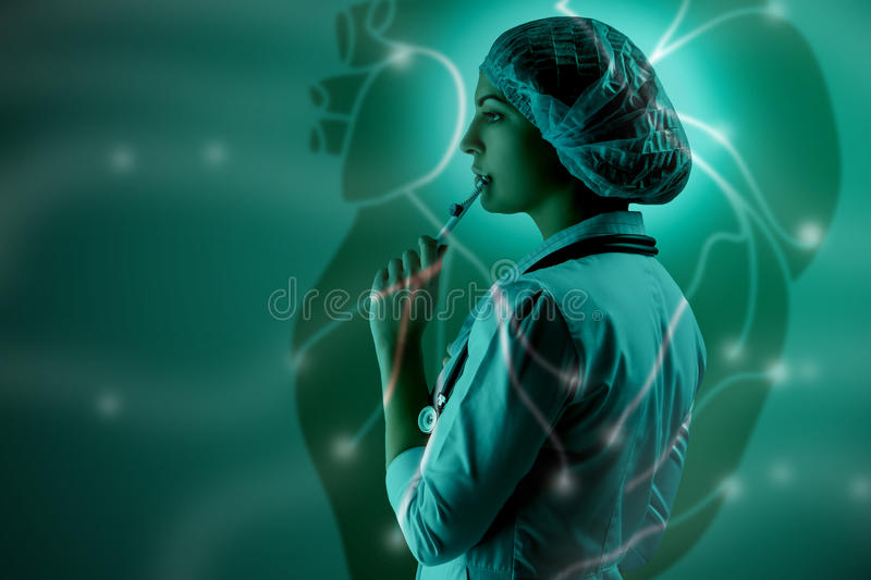 Collage on scientific topics. Young female doctor standing against heart background. Collage on scientific topics. Young female doctor standing on heart royalty free stock photo