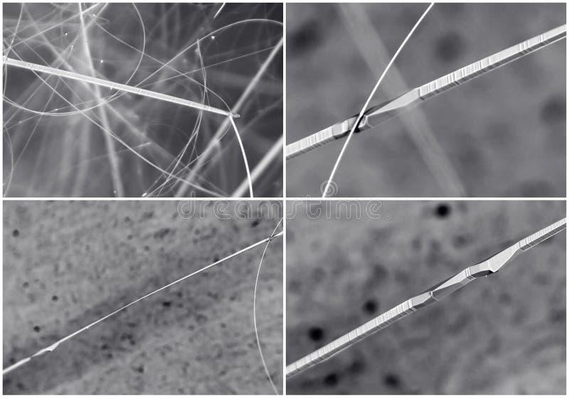 Collage scientifique Cristal dans le microscope électronique image libre de droits