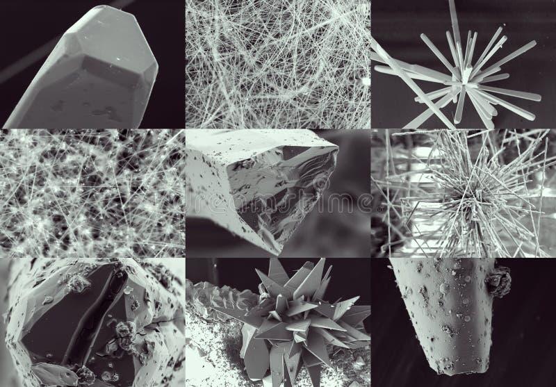 Collage scientifique Cristal dans le microscope électronique photographie stock