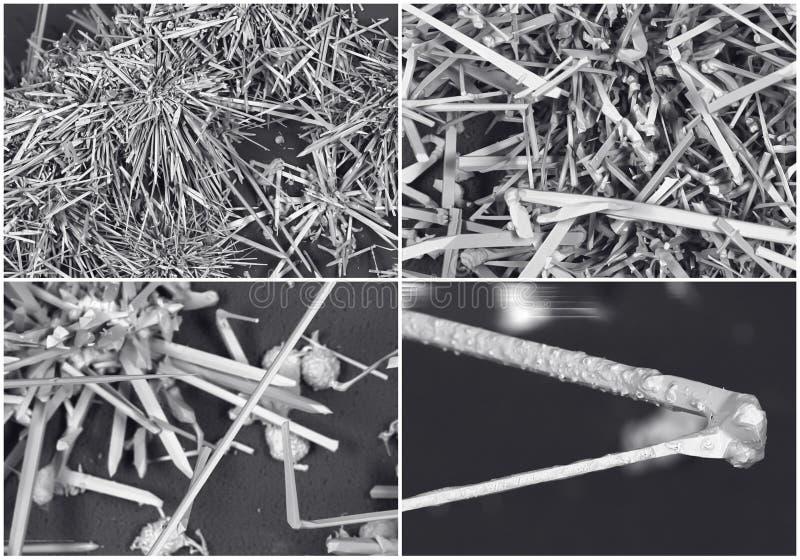 Collage scientifique Photo en cristal du microscope électronique photos libres de droits