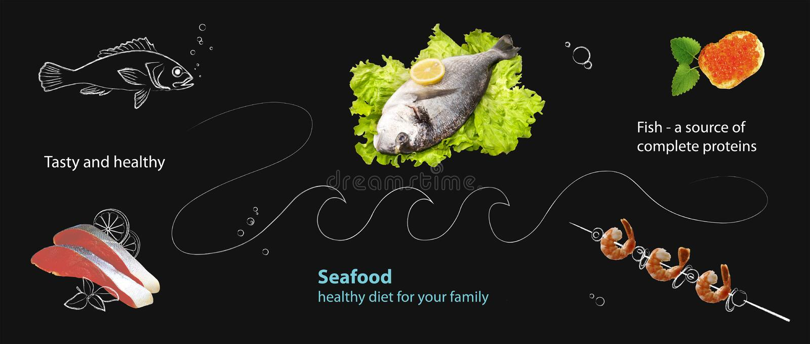Collage with seafood and graphics on a black slate background. Collage with seafood Photo and graphics on a black slate background stock illustration