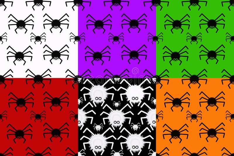 Collage with seamless textures with spiders. stock illustration