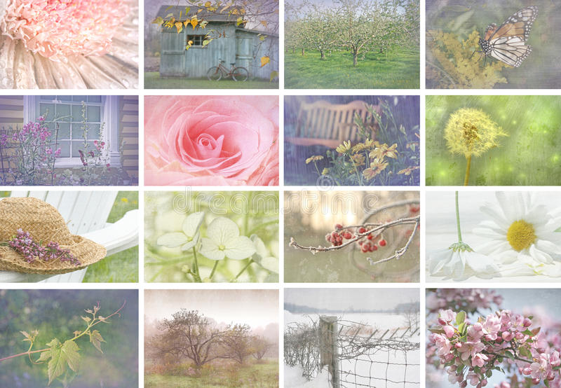 Collage of seasonal images with vintage look royalty free stock photography