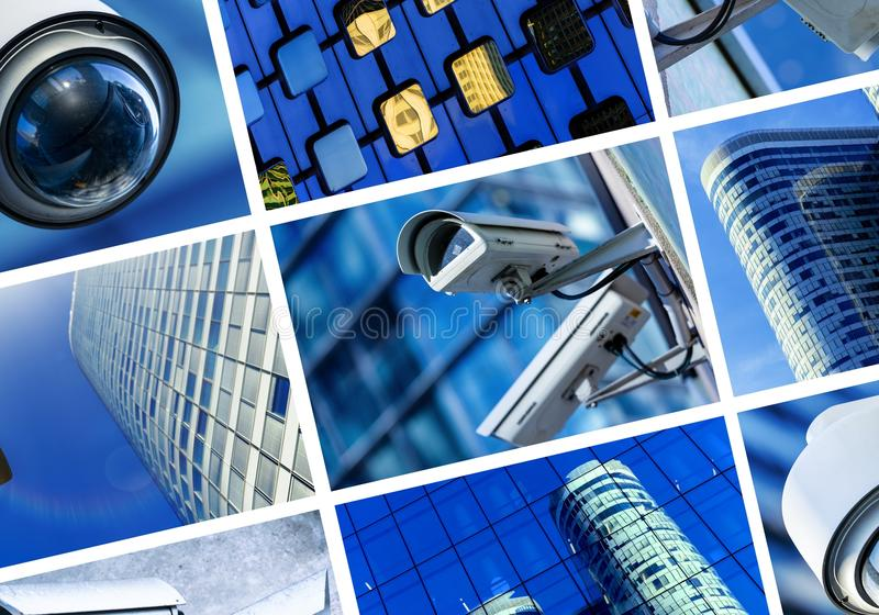 Collage of security camera and urban video stock image
