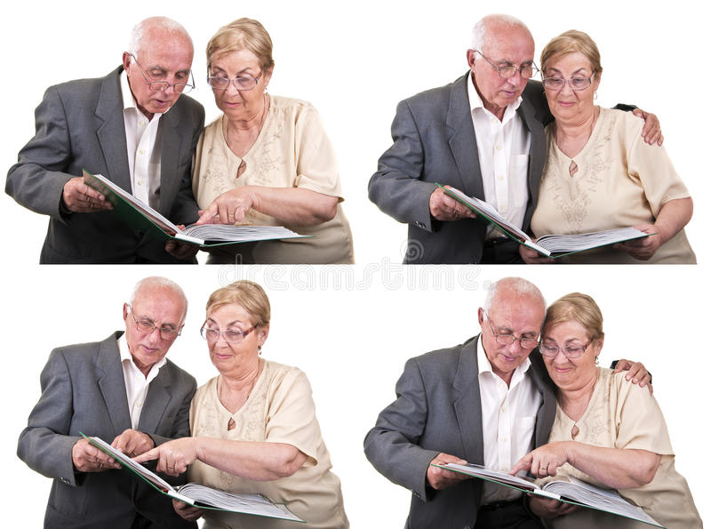 Collage senior couple sharing memories isolated