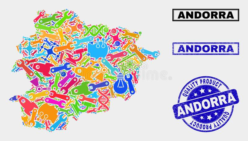 Collage of Service Andorra Map and Quality Product Stamp Seal. Vector collage of service Andorra map and blue stamp for quality product. Andorra map collage royalty free illustration