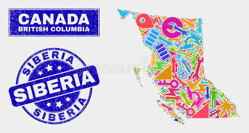 Collage Service British Columbia Map and Distress Siberia Seal. Mosaic service British Columbia map and Siberia seal stamp. British Columbia map collage designed royalty free illustration