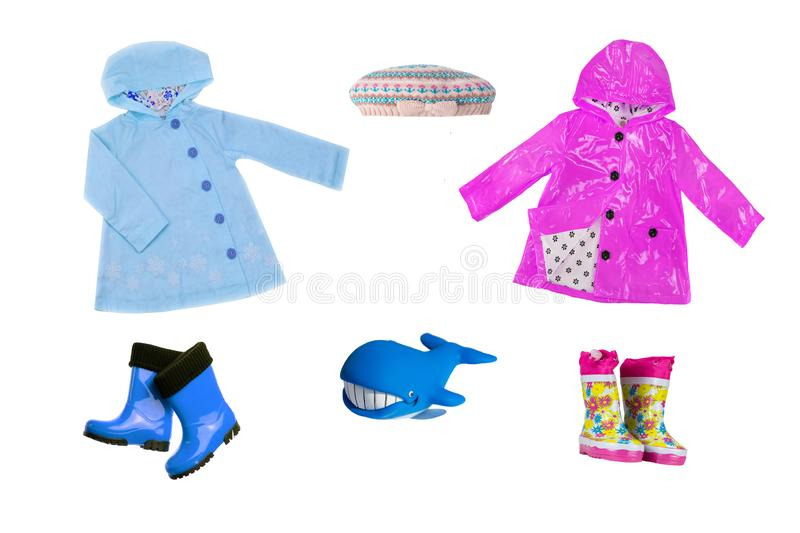 Collage set of children clothes. Collection of spring and autumn stock image