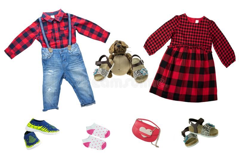 Collage set of children clothes. Collection of spring and autumn royalty free stock image