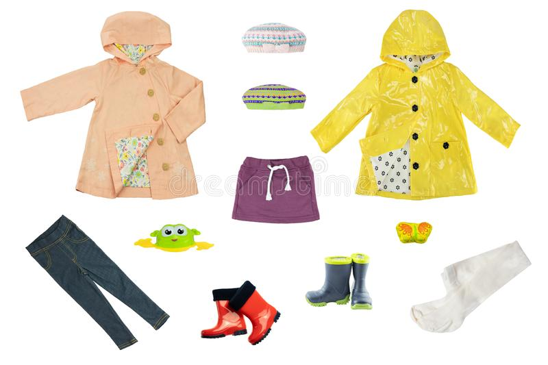 Collage set of children clothes. Collection of spring and autumn royalty free stock photography