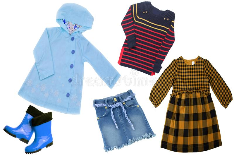 Collage set of children clothes. Concept spring autumn and summer clothes. royalty free stock image