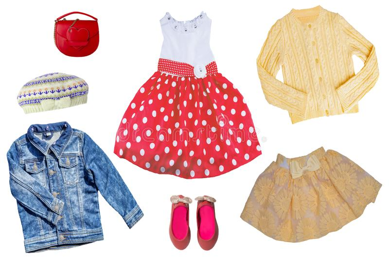 Collage set of children clothes. Concept spring autumn and summer clothes. Isolated on white. Close up stock photo