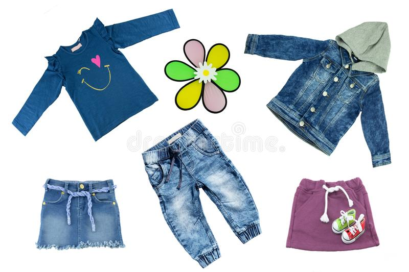 Collage set of children clothes. Concept spring and summer cloth stock image