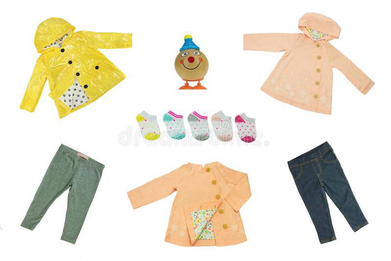 Collage set of children clothes. Concept spring and summer cloth royalty free stock photos