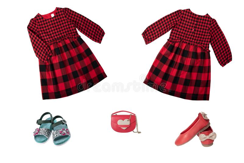 Collage set of children clothes. Red checkered dress and shoes f royalty free stock photos
