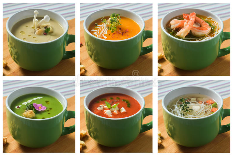 Collage set cream soups mushroom, broccoli, vegetables, tomatoes and noodles chicken and seafood stock photos