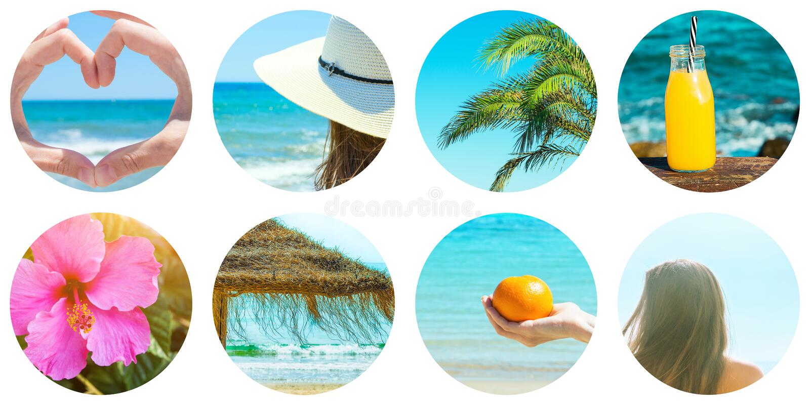 Collage set of round circle icons isolated on white background. Seaside ocean vacation on beach. Young caucasian woman palm trees royalty free stock photo