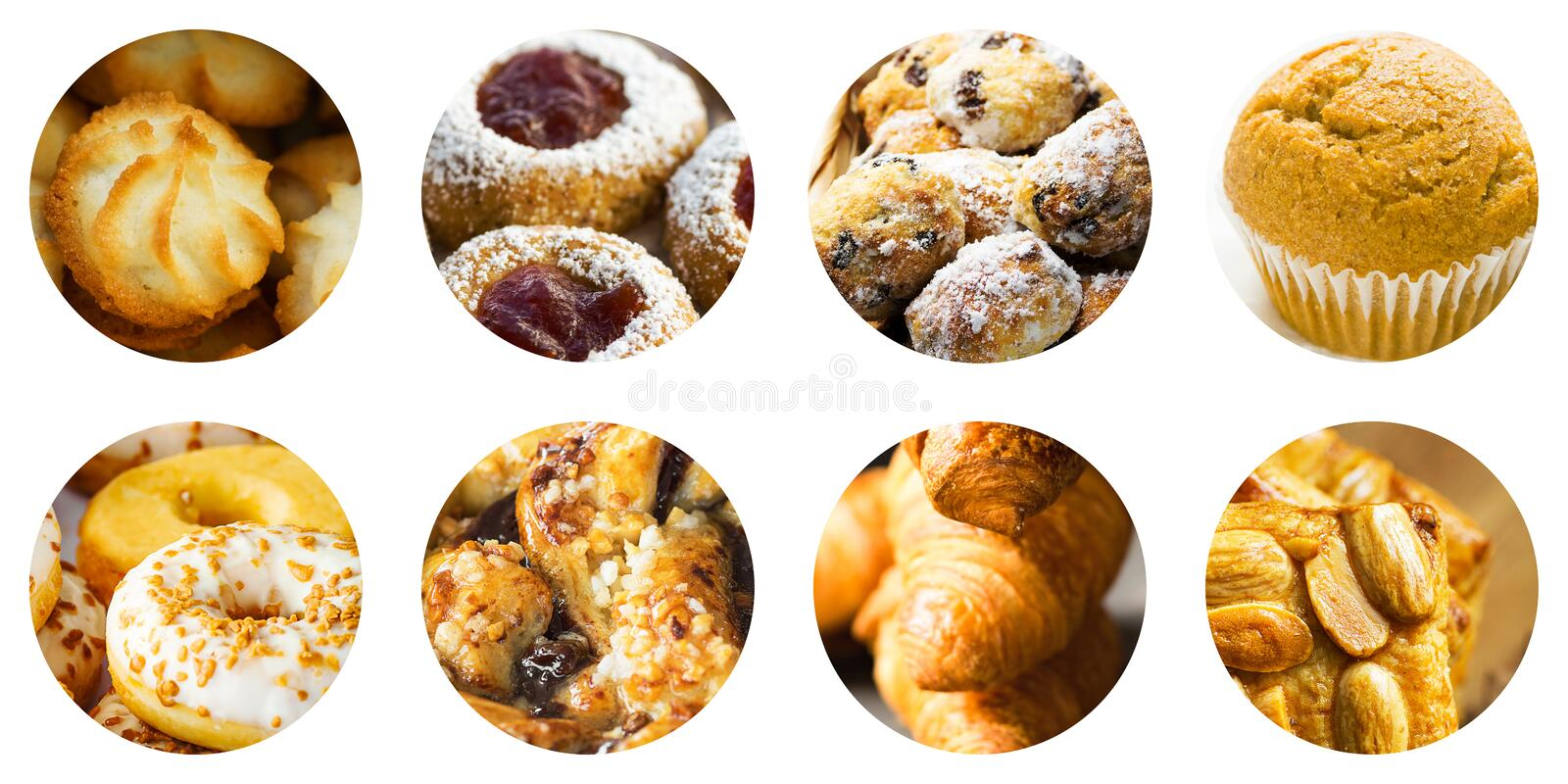Collage set of round circle icons isolated on white background of various kinds of pastry cookies muffins croissants mini cakes stock photo