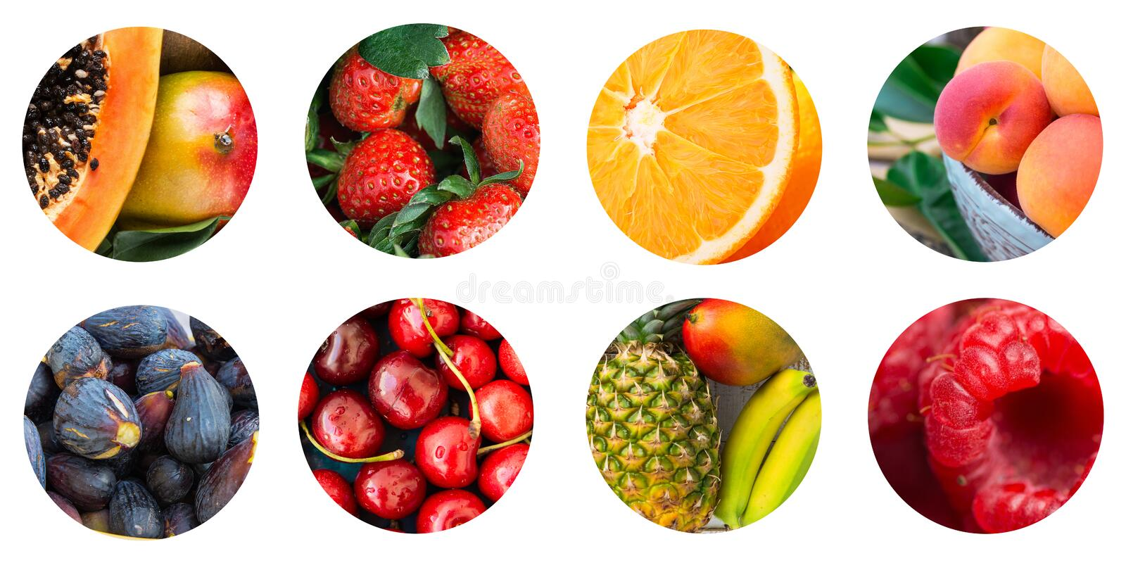 Collage of set of round circle icons of various seasonal tropical and exotic fruits and berries on white background. Vitamins royalty free stock photo