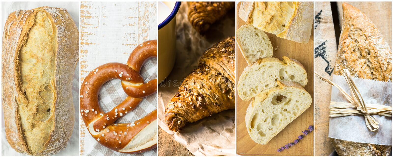 Collage set of variety of bread kinds ciabatta German pretzel wholemeal croissants bran buns on long banner for bakeries pastry royalty free stock photos