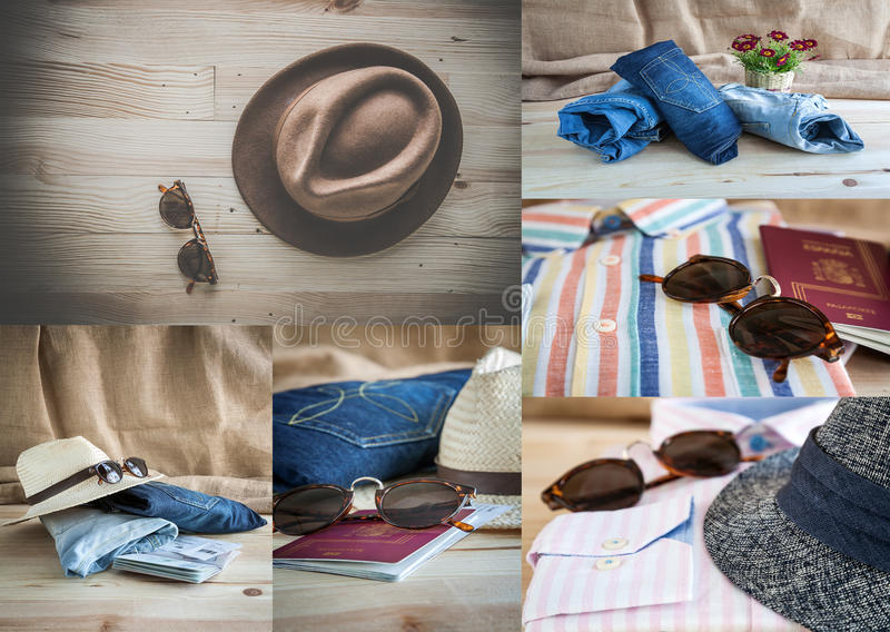 Collage of Set of various clothes and accessories for men royalty free stock images