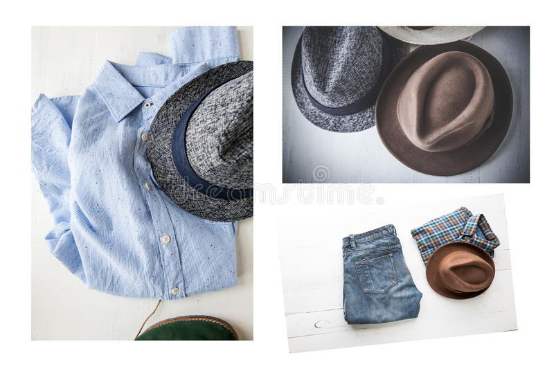 Collage Set of various clothes and accessories for men royalty free stock image