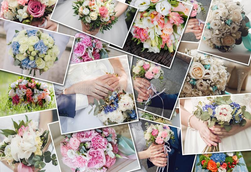 Collage set wedding bouquets. Wedding ceremony and fresh flowers in hands of bride. Collection of beautiful wedding bouquets. Collage set wedding bouquets royalty free stock image