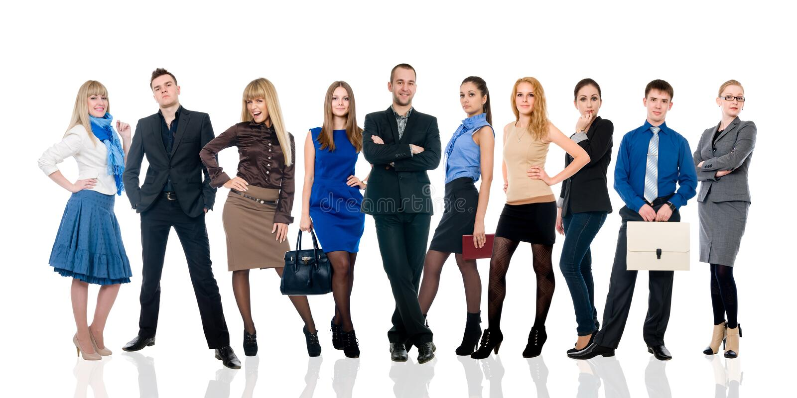 Collage of several business people in different poses. royalty free stock photos