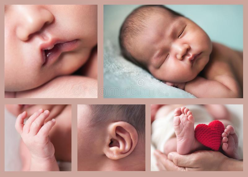 Collage several images of cute sleeping baby, newborn and mothercare concept royalty free stock photography